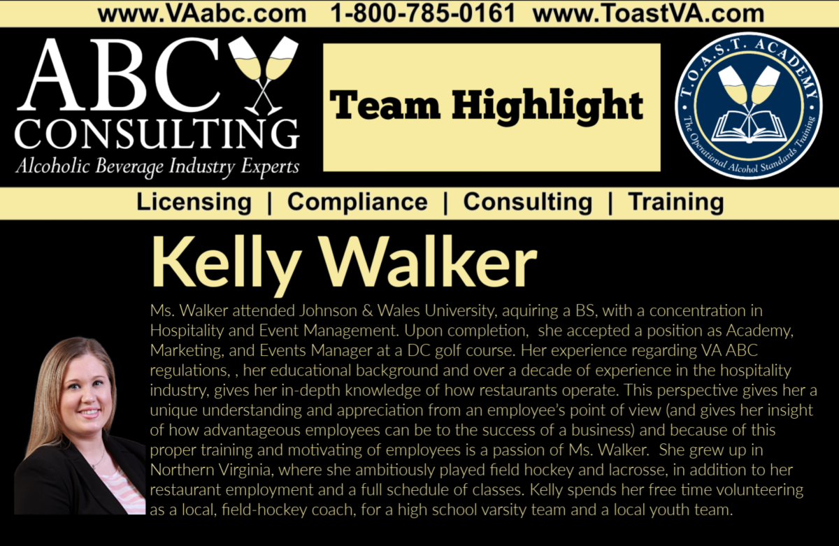 Kelly Walker, Alcohol Consultant, ABC Consulting