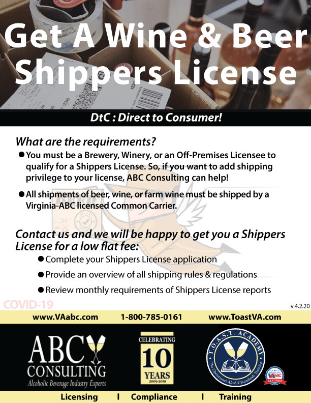Shipper's License from ABC Consulting 800-785-0161