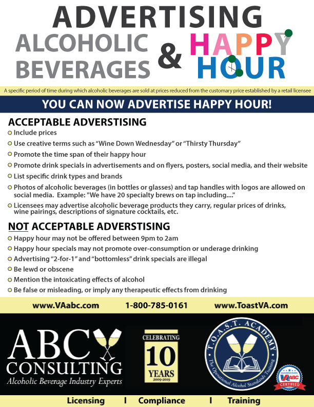 Advertising Happy Hour and Alcoholic Beverages - ABC Consulting